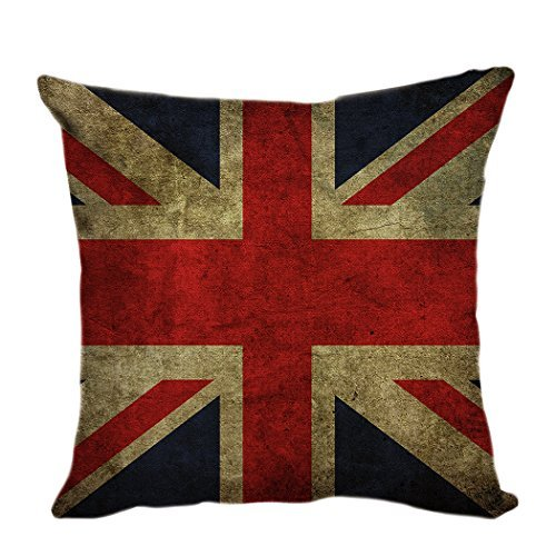Pillow Cover Funda de cojín decorativa para sofá, funda de cojín, fundas de almohada, cojín, cojín retro, bandera británica de 45 x 45 cm