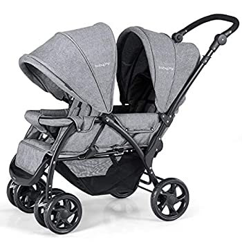 BABY JOY Double Baby Stroller Foldable Double Seat Tandem Stroller with Adjustable Backrest Push Handle and Footrest Lockable Wheels 5 Points Safety Belts  Gray