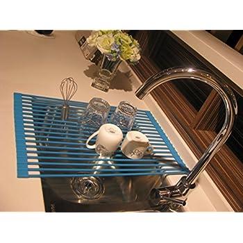 Yisis 水切りラック 52×33cm 折りたたみ式 シリコン製 滑り止め 抗菌 台所用品 シンク用品 断熱パッド 鍋敷き (ブルー)