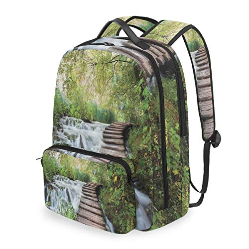 HATESAH Naturstrom im grünen Dschungel-Druck Abnehmbare Rucksack Schule Computer Tasche reiserucksack zu fuß tragbare ranzen Camping Rucksack für Junge mädchen