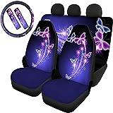 MODEGA - Set di 7 coprisedili per auto, protezione per le donne, con stampa a farfalla, con motivo a farfalla, per lo zaino, per la maggior parte dei veicoli