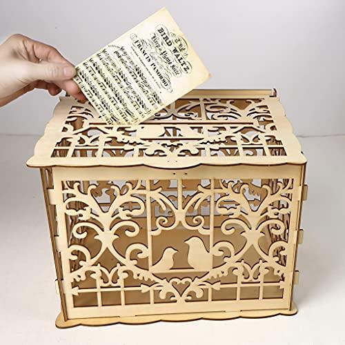Alnicov - Scatola per biglietti di nozze, in legno, stile rustico, con serratura per ricevimento, matrimonio, anniversario, compleanno, festa di laurea, decorazioni