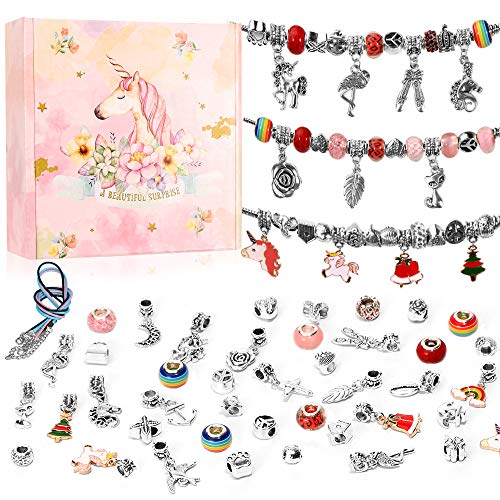 O-Kinee Charm Armband Kit,Armband Anhänger, DIY Schmuck Bastelset, Schmuck Basteln Mädchen, Geschenke für Mädchen, Geschenk für Kinderschmuck zum Befüllen, Weihnachten Mädchen Geschenke