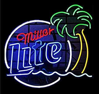 Mirsne Neon Signs, Glass Tube Neon Lights, 17 by 14 Inch Miller Lite Neon Signs Bar, The Best Neon Sign Custom Supplied for a Wide Range of Personal Uses.