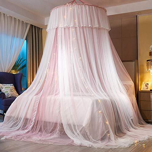 VARWANEO Princess Bed Canopy for Girls,Bed Canopy Curtain- Double Layer Sheer Mesh Dome Bed Curtain- Princess Mosquito Net for Twin Full Queen King Bed (Pink/White)