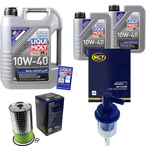 Juego de filtros de 7 litros de aceite de motor Liqui Moly MoS2 de marcha suave 10W-40 SCT Germany