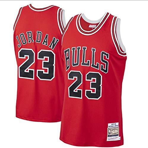 LYKH Jordan Bulls # 23 Hombres Camiseta De Baloncesto, Retro Unisex Sin Mangas Bordado De Baloncesto Superior, Gimnasio De Deportes Chaleco Wicking Sudor De Secado Rápido,Rojo,S