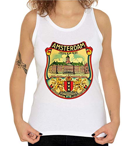 Amsterdam Holland Royal Palace Retro Graphic Camiseta sin Mangas para Mujer Small