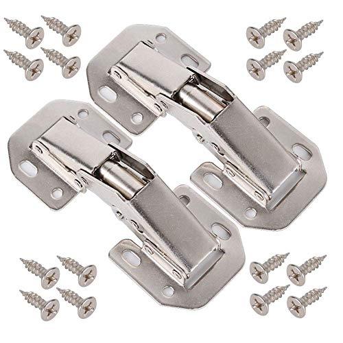 BESTZY 2 X Aufschraubscharnier mit Feder Öffnungswinkel 90° Schränke Tür Eckanschlag und Innenanschlag Tür Scharniere Küchenschrank Kleiderschrank Schranktür Möbel