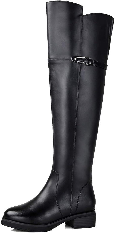 2018 Neue Over The Knie Stiefel Damen Vollleder Dick Mit Schnee Stiefel Leder Winter rutschfeste Stiefel Gre Baumwolle Schuhe High Heels (Farbe   SCHWARZ, gre   37)