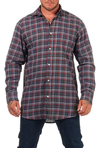 Jack Gordon Herren Arbeitshemd Flanell Hemd Langarm kariert - auch in Übergrössen erhältlich - 8122, Farbe:grau, Größe:47-48