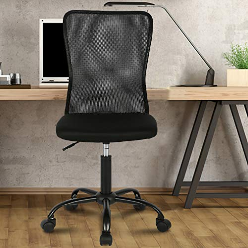 Office Chair Desk Chair Computer Chair with Lumbar Support Ergonomic Mid Back Mesh Adjustable Height Swivel Chair Armless Modern Task Executive Chair for Women Men Adult