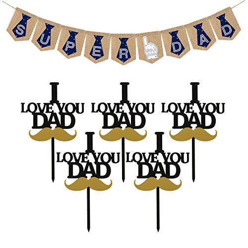 ifundom Suministros para Fiestas del Día del Padre con 5 Piezas para Pasteles del Día del Padre Y 1 Pieza Super Papá Banner Rústico Decoraciones para Fiestas del Día del Padre Accesorios