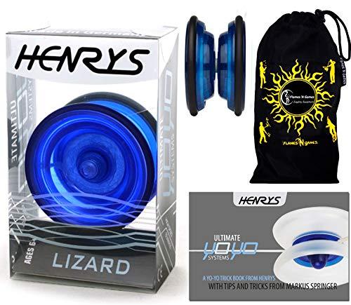 Henrys LIZARD YoYo (Blau) Professionelle Entry-Level-YoYo + Lehr-Broschüre von Tricks + Stoff Reisetasche! Große Pro YoYo für Kinder und Erwachsene! AXYS-Systemachse Slider mit High-Speed-Lager.