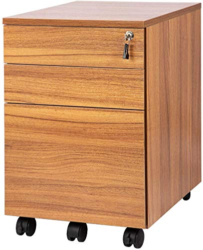 Topsky 3 Schubladen Mobiler Aktenschrank aus Holz, komplett montiert, außer Rollen (Eiche braun)