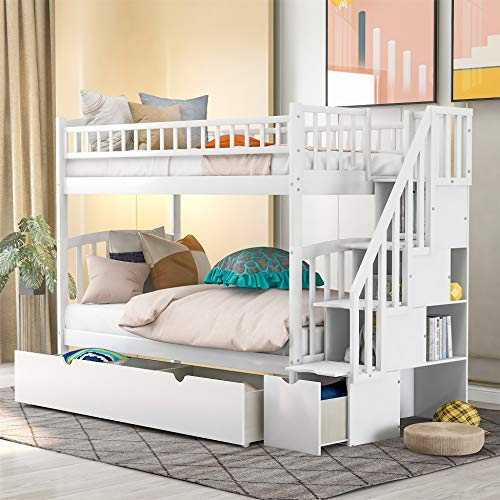 Twin Over Twin Bunk Bed with Staircases and Drawers, Wooden Bunk Bed with Storage and Safety Guard Rails for Kids, Teens, Adults (White)
