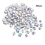 Anyasen AB Chiaro Acrilico Gemme 200 Pezzi Pietre da Cucire Cristallo Artificiali da Cucire Posteriore Piatto Strass per Decorazione di Abbigliamento Fai da Te(AB Trasparente)