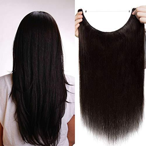 50cm - Extension Filo Trasparente Capelli Veri 2 Marrone Scuro Umani Filo Trasparente Fascia Unica 70g One Piece Remy Hair Extension