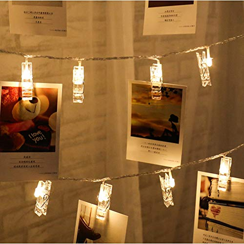 Pegs String Lights Led Clip Cards Photos Holder Fairy Christmas Wedding Birthday Party Valentine'S Day