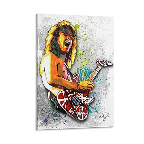 Aputu Póster de Eddie Van Halen legendario guitarrista 23 en lienzo y arte de pared para decoración de dormitorio familiar moderno 30 x 45 cm