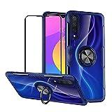 Funda para Xiaomi Mi CC9/A3 Lite/Mi 9 Lite Case Protector de Pantalla de Cristal Templado,360°Giratorio Metal Anillo,Rugged Armor Protección Bumper,Transparente Carcasa Bumper - Azul