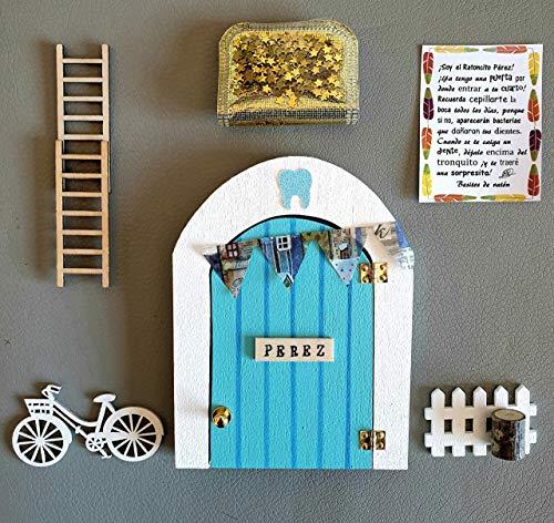 Puerta Ratoncito Perez que se abre de madera (TALLER ARTESANAL) con accesorios * azul