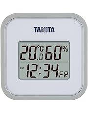 タニタ 温湿度計 時計 カレンダー 温度 湿度 デジタル 壁掛け 卓上 マグネット グレー TT-558 GY