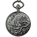 DBSCD Regalos Navidad,Reloj Bolsillo Reloj Bolsillo mecánico Escultura dragón Bronce único Símbolo Suerte Retro Reloj Bolsillo mecánico Esqueleto Romano