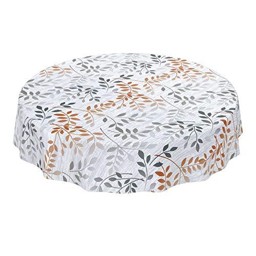 ANRO Wasdoek tafelkleed afwasbaar tuin tafelkleed tafelzeil rond ovaal hoekig indoor outdoor bladeren zilver oranje rond 140cm
