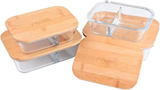 Kelly Brown 'Naturals': Glass Food Storage Container w/Divider & Bamboo Lid, Great For Meal Prep, 2 Compartments, Air-tight ECO-FRIENDLY, BPA & Plastic Free, 4 Piece Set: 2pcs x 640ml & 2pcs x1040ml