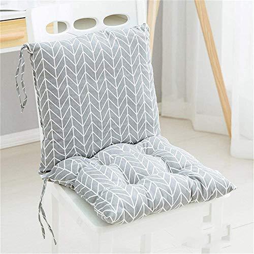 2 cojines para silla con respaldo para asiento, respaldo con cintas, respaldo bajo, cojín acolchado para silla de jardín, 40 x 40 cm, cojín para silla de jardín (M)