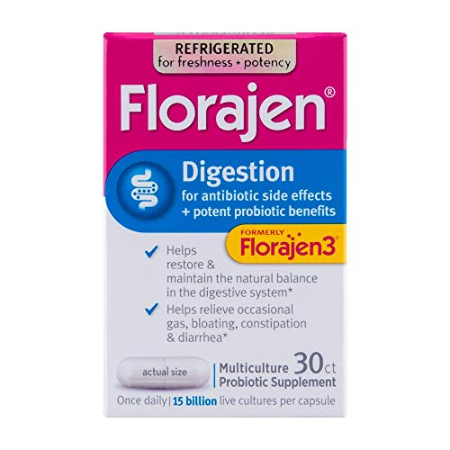 Florajen3 Digestion High Potency Refrigerated Probiotics | Restores Balance in Digestive System | for Antibiotic Side Effects | 30 Capsules