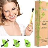 4 Spazzolini Bamboo Biodegradabili |Spazzolino Bamboo in Legno, Naturale, Vegano, setole medie morbide al Carbone Attivo di Bambu, anche per Bambini