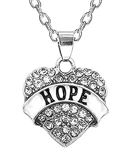 Legisdream Herz-Anhänger Halskette mit Strass Transparent und geschrieben Hoffnung - Hoffnung für Freundschaft Juwel-Herz Paar Freunde Boyfriends Liebes-Farbe Silber Porta Fortuna
