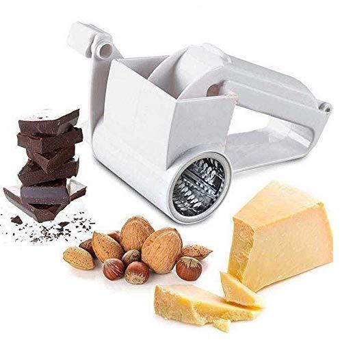 Junejour Käsereibe ABS Edelstahl manuell rotierende Klassische Drehmuttern und Schokoladenhobel Gemüsereibe für Käse, Nuss, Küche, Knoblauch, Ingwer, Karotte Weiß