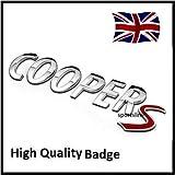 Stemma cromato Cooper S in metallo con lettere adesive per portellone posteriore, T36