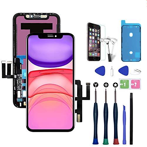 Xlhama Bildschirm Ersatz Kompatibel für iPhone 11 Schwarz 6,1 Zoll mit Reparaturwerkzeugen Frontkamera Näherungssensor Lautsprecher Gehärtete Glasscheibe