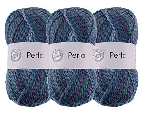 Perla Woll-Set Farbe Ocean 3er-Set Wolle zum Stricken und Häkeln, je Knäuel 100g (13)