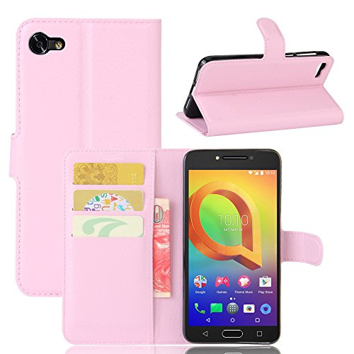 Tasche für Alcatel A5 Led (5.2 zoll) Hülle, Ycloud PU Ledertasche Flip Cover Wallet Hülle Handyhülle mit Stand Function Credit Card Slots Bookstyle Purse Design rosa