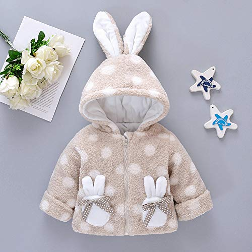Metermall Games For Zippered Velvet Shirt Cute Rabbit Ear Decorated Hoodie Dots Printed Top for Girls Beige 10 / 90CM