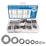 MMOBIEL 360pcs 8 Size Stainless Steel Flat Washer Spacer Set Assortment Kit of Screws Bolts Fastener Gasket Lock Tools Fastener M2 M2.5 M3 M4 M5 M6 M8 M10