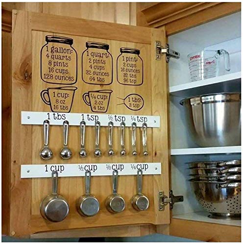 Set Kitchen Baking Cooking Cups Spoons Vinyl Decals - Measuring CONVERSIONS