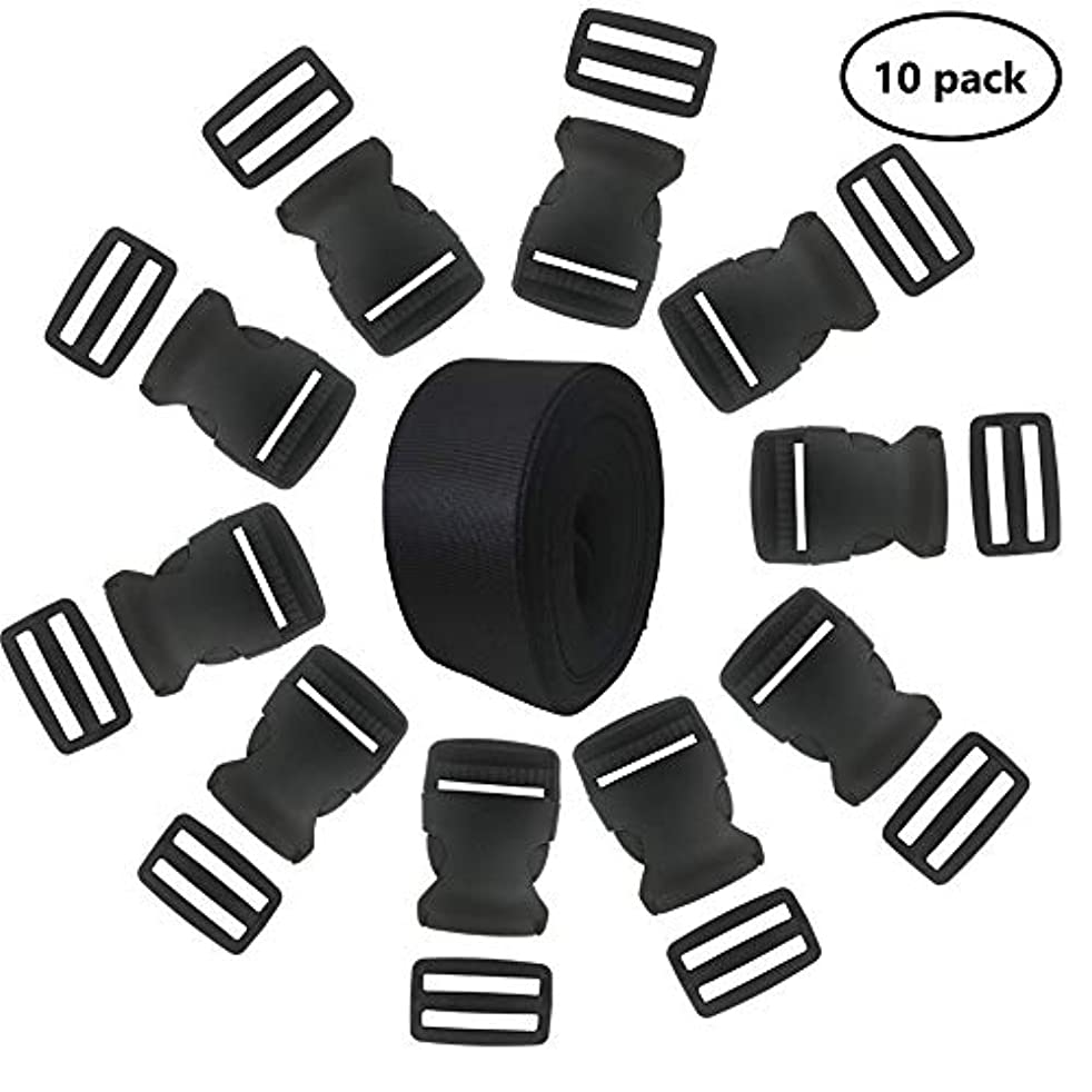 EnewLife 1.5 Inch Plastic Buckles Kit Include 10 Pack Side Release Plastic Buckles and 10 Pack Tri-Glide Slides with 5 Yards Black Nylon Webbing Strap(10 Pack 1.5 Inch)
