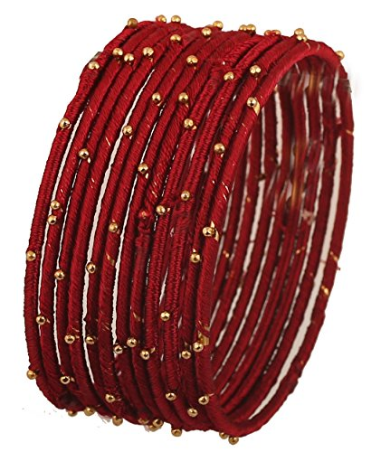 Touchstone Colección de brazaletes de Hilo de Seda Hecho a Mano Cuentas de Hilo de Seda sintética Pulseras de Brazalete joyería de diseño para Mujer 2.37 Granate