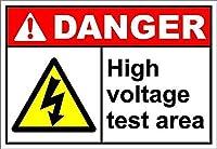 高電圧テストエリア危険壁金属ポスターレトロプラーク警告ブリキサインヴィンテージ鉄絵画装飾オフィスの寝室のリビングルームクラブのための面白いハンギングクラフト