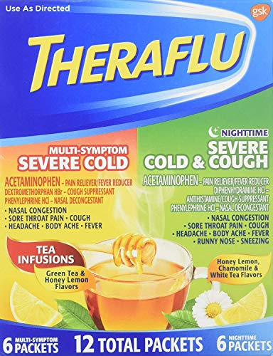 Theraflu Multi-Symptom Severe Cold and Theraflu Nighttime Severe Cold and Cough Hot Liquid Powder Combo Pack 12 count Box