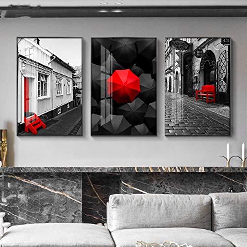 GLASA Arquitectura Urbana Minimalista Moderna decoración de Sala de Estar Pintura sofá Fondo Pared Oficina Dormitorio cafetería-50x70cmx3 sin Marco
