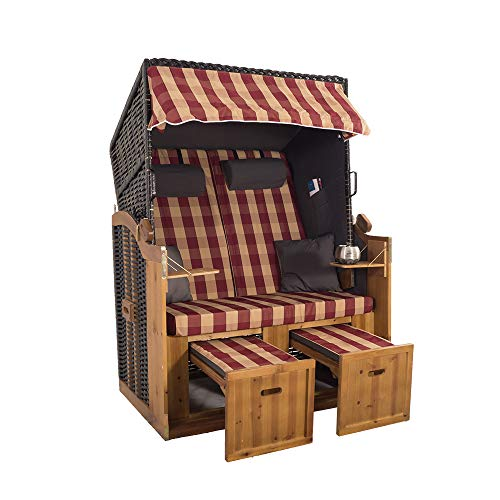 2-Sitzer Strandkorb Hörnum - Volllieger mit Fußablagen – inkl. Nackenkissen und Kuschelkissen Set - (Geflecht - Schwarz, Grau-Rot - Kariert)