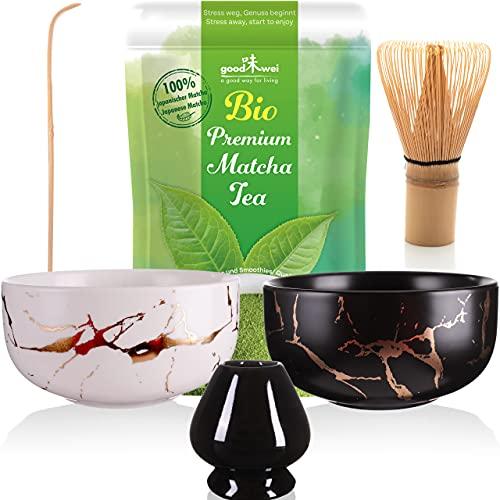 Matcha Tee Set mit Besen, Teeschale und Japanischem Bio Matcha Pulver Tee - Marmor Design (Schwarz & Weiß Duo)