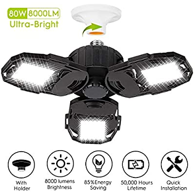 LED Garage Lights, 80W Deformable Garage Ceiling Light 8000LM E26 Basement Lights with 3 Adjustable LED Panels 270° – Fits for Garage, Warehouse, Barn, Workshop and Yard (NO Motion Activated)